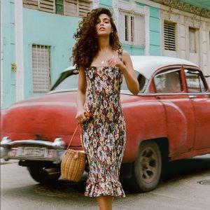 Faithfull the Brand Maya Floral Midi Dress Sz XS